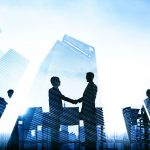 41318507 - business handshake corporate meeting city concept