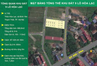 Mở bán 9 lô đất nền Hoà Lạc: giá 1,8 tỷ VND + 99,8m2 + sổ đỏ lâu dài