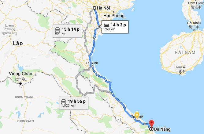 Từ Hà Nội đi Đà Nẵng bao nhiêu km và mất bao lâu?