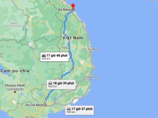 Khoảng cách từ HCM đến Đà Nẵng bao nhiêu km?