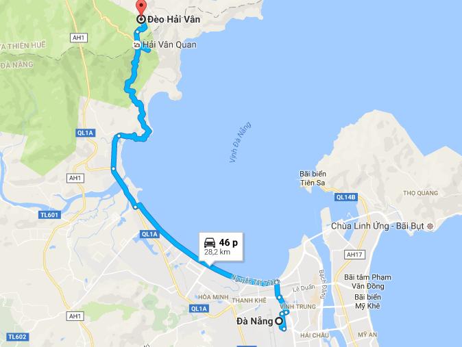 Từ Đà Nẵng đi đèo Hải Vân bao nhiêu km?